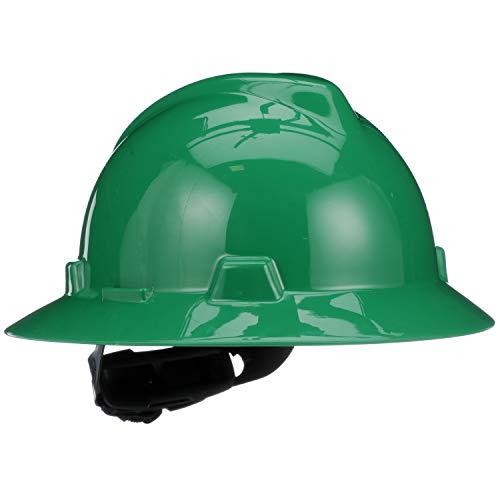 MSA Green V-Gard Polyethylene Full Brim Hard Hat With Ratchet4 Point Ratchet Suspension