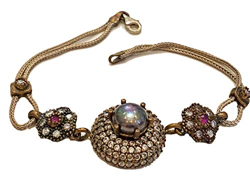 925 Sterling Silver Bracelet Gray Pearl Ruby & Cubic Zirconia Antiqued Ottoman Turkish