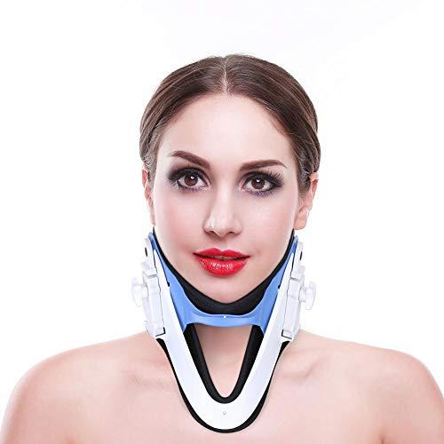 Dispositivo de tracción del cuello cervical - Collar y soporte para el cuello - Alivio del dolor en el cuello y los hombros - Collar extensible para viajes/Alineación de la columna vertebral mejorad