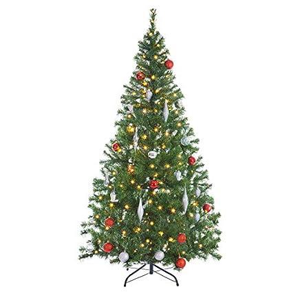 Casaria Árbol de Navidad Artificial Verde 150cm 310 Puntas con Soporte y Cadena de Luces de 100 LED Decoración Interior