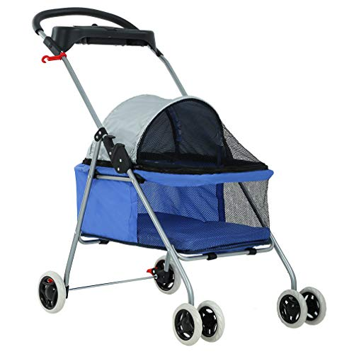 Pet Stroller 4 Wheels Posh Folding Waterproof Portable Travel Cat Dog Stroller with Cup Holder,Blue