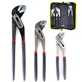 Fstop Labs 3 Pack Set Adjustable Alligator Water Pump Pipe Pliers Set, Groove Joint Pliers Set, 8-Inch, 10-Inch and 12-Inch Pliers Quick-Release Plumbing Pliers Straight Jaw with Storage Bag