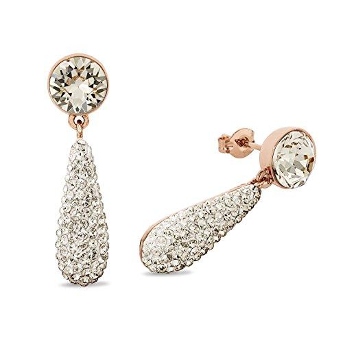 Noelani Damen-Ohrhänger Tropfen rosévergoldet veredelt mit Swarovski Kristallen 33 mm