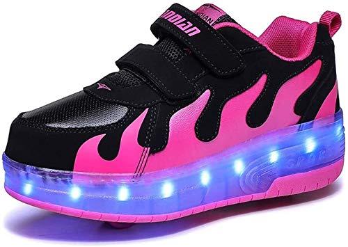 Tophacker Zapatos de carga USB, zapatos de patinaje para niñas y niños, con luz LED, ruedas de rodillo, zapatillas de deporte (color: rosa, tamaño: 34/34.5 UE)