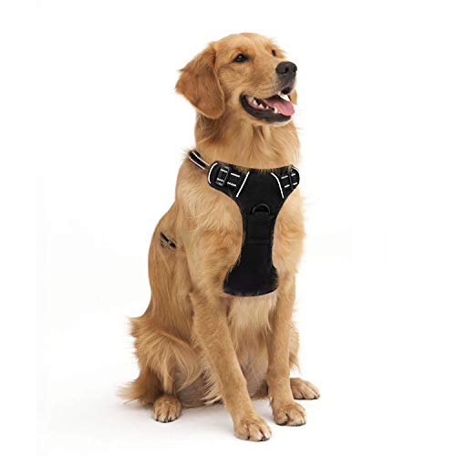 Dog Harness No Pull, Adjustable Reflective Breathable Vest with Handle for Large Dogs Walking by Best Pet Supplies, Easy Control Tactical Dog Harness, Black