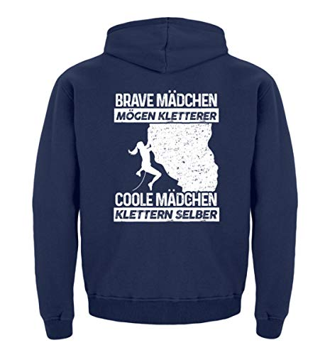 shirt-o-magic Klettern: Coole Mädchen Klettern selber - Kinder Hoodie -9/11 (134/146)-Marine-blau