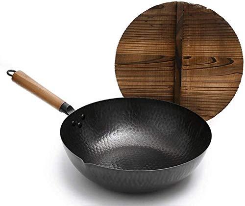 Wok Antiadherente Skillet Estufa de Wok Wok Wok de hierro puro bandeja sin recubrimiento Cinco de gases redondo Fondo redondo Hierro forjado Wok Hogar