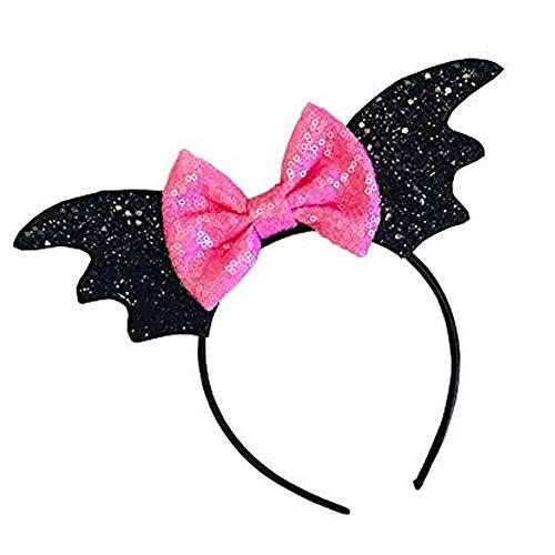 thematys Diadema de murciélago Negra y Lazo Rosa - Accesorio para Adultos y niños Carnaval, Halloween y Cosplay (Lazo Rosa)