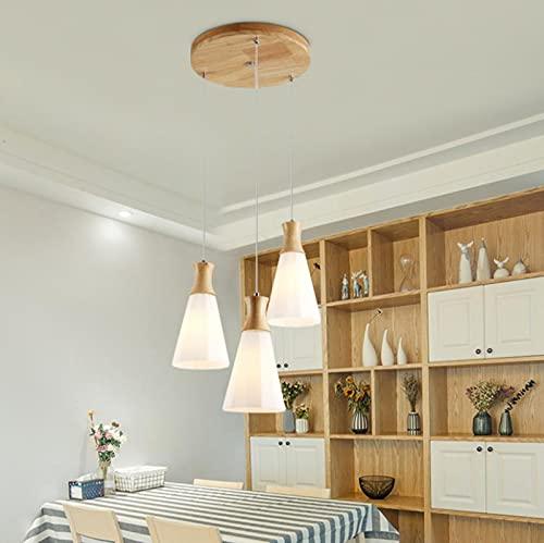 YDZB Luces colgantes Mesas de comedor de madera modernas Luces colgantes E27 Candelabro regulable LED 3 llamas Sala de estar Dormitorio Restaurante Lámpara Luz de techo ajustable en altura (Ronda)