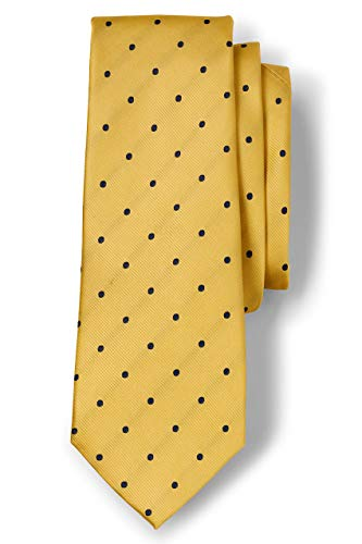 Lands' End Men s Silk Churchill Dot Necktie Yellow/navy Dot Regular No Sz