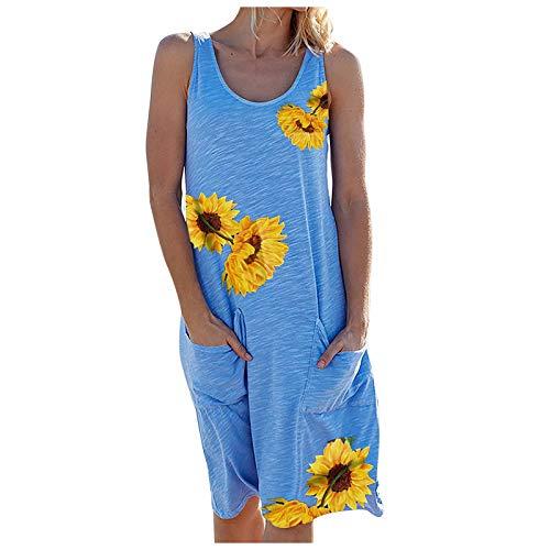 NAQUSHA Vestido maxi sin mangas con cuello en O para mujer, para playa, holgado, para verano, elegante, vestido de fiesta, vestido de noche
