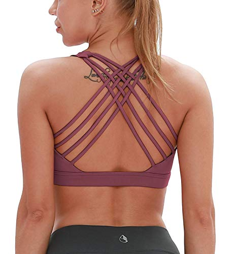 icyzone Sports Bras for Women - Activewear Strappy Padded Workout Yoga Tops Bra (M, Mauve Orchid)