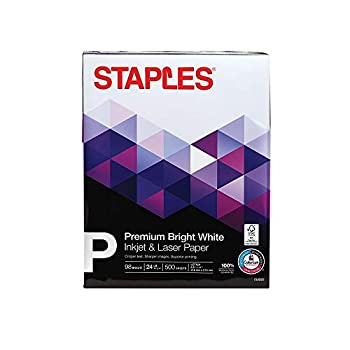 """STAPLES Inkjet Paper – 8.5"""" x 11"""" Multipurpose Paper 24 lbs 500 Sheets of 98 Bright Paper – FSC and Rainforest Alliance Certified Acid-Free – Printer Paper Great for Professional Use"""
