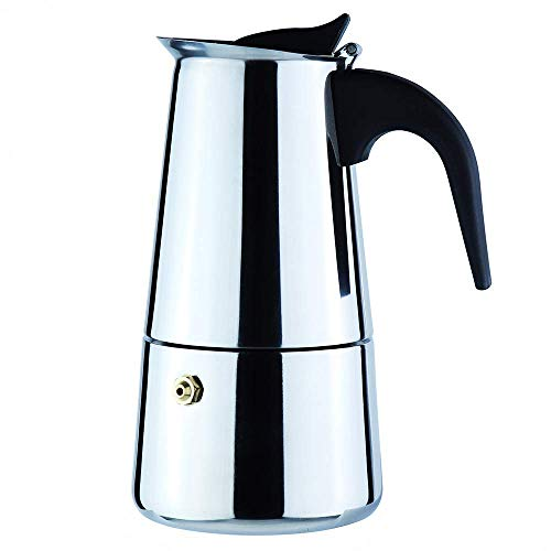eKitchen Stainless Steel Moka Expresso Coffee Pot (Works on Induction Cooktops) (4-Cup)