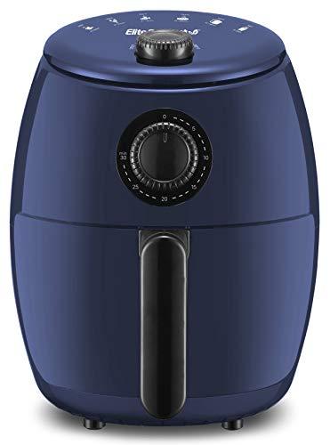 Elite Gourmet EAF-0201BG 2.1 Qt Personal Compact Space Saving Electric Hot Air Fryer Oil-Less Healthy Cooker, Timer & Temperature Controls, PFOA/PTFE Free, 1000-Watts with Recipes, Quart, Blue Gray