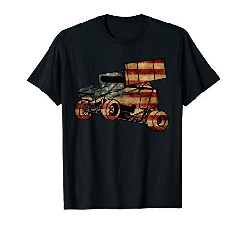 Sprint Car Racing Dirt Track Vintage Looking American Flag T-Shirt