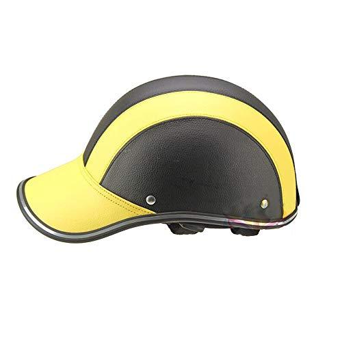 U/D Medio Casco de Ciclo del Motor Gorra de béisbol del Coche eléctrico Hombres Mujeres Personalidad de Pico de Pato Cap Bici de la Motocicleta del Casco (Color : Amarillo, Size : Gratis)