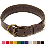 Logical Leather Padded Dog Collar - Best Full Grain Heavy Duty Genuine Leather Collar - Brown - Large