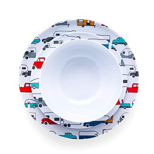 Product Image 4: Camco Life is Better at The Campsite 12 Piece Dishware Set-Multicolor Retro RV and Trailer Print, Includes Plates and Bowls, Perfect for RVing and Camping, Melamine (53297)