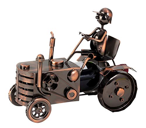Botella de vino moderna portabotellas tractor metal cobre color altura 25 cm longitud 29 cm