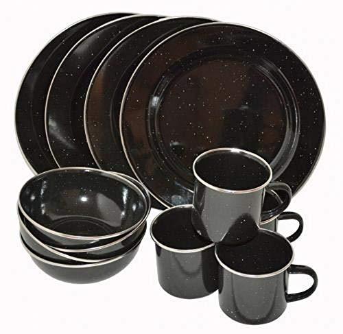AB Email Western - Vajilla (12 piezas), color negro 4 personas), apto para lavavajillas