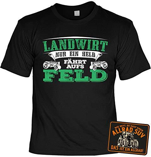 Tini - Shirts Landwirt/Bauern Sprüche-Motiv T-Shirt - Blechschild Deko Landwirtschaft : Landwirt nur EIN Held fährt aufs Feld & Allrad SUV - Schild Bauernhof/Traktor/Stall Gr: 5XL