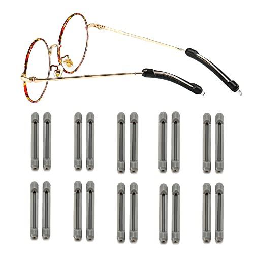 Suertree 10 pares de fundas antideslizantes de silicona para gafas, extremos de patillas antideslizantes, accesorios para gafas de sol de lectura, color gris