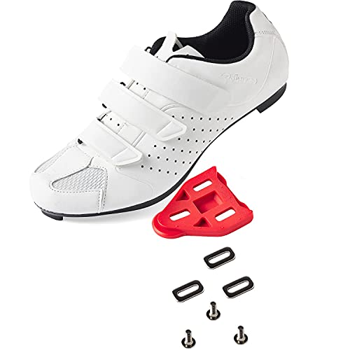 Men's Women's Cycling Shoes Road Bike Shoes with Look Delta Cleat for Lock Pedal Spin Shoes for Road Peloton Indoor Bike white Size: 7 Women/5.5 Men