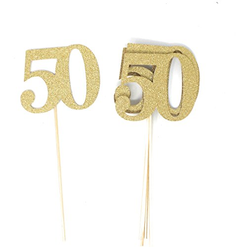 PaperGala Set of 8 Number 50 Centerpiece Sticks Double Sided for Golden Anniversary Reunion 50th Birthday (Gold)