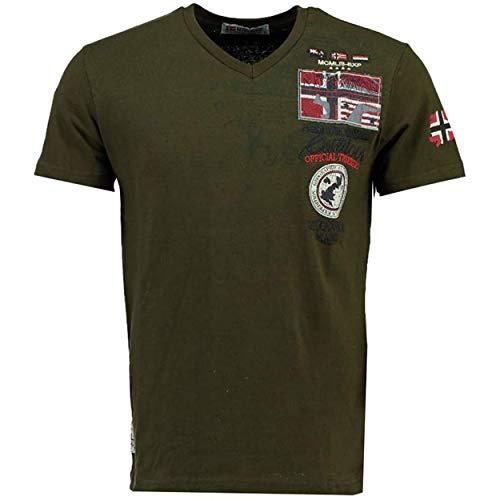 Geographical Norway JOLYMPIA - Camiseta Algodón para Hombre - Camiseta Modelo Hombre con Logo - Shirt Regular Manga Corta - Camisetas Cuello Clasica Casual - Regalo Original para Hombre (Caqui M)