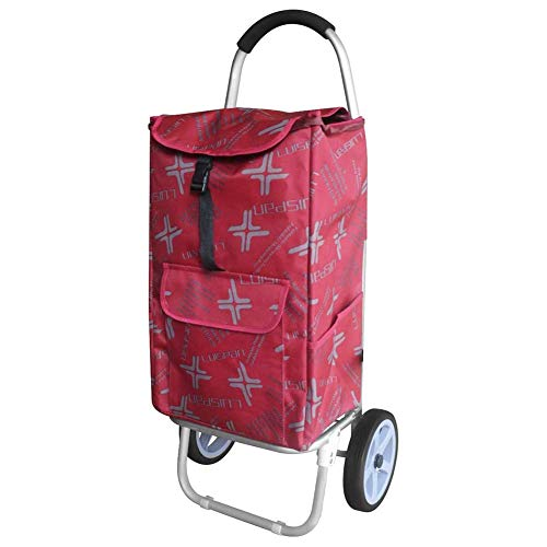 WEIZI Shopping trolley 2in1 collapsible shopping trolley with aluminum noiseless 2-wheels collapsible large capacity foldable shopping capacity Hand elderly Light household trolley red