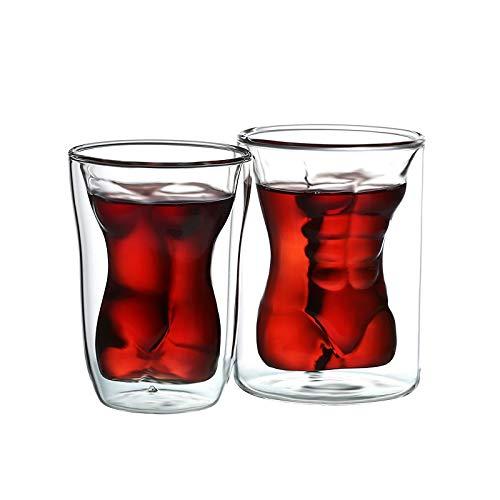 FUSSUF Músculo Creativo Atractivo del Cuerpo Humano Vaso de Cerveza Copa Divertido Belleza Disparo Hombre de Doble Pared de Vasos de Vino Whisky Vodka Valentín Regalo de Cristal (Color : A Couple)