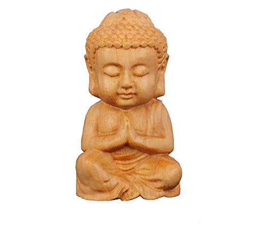 DMtse Hand Carved Natural Wood Buddha Statue Religious Buddhist Sitting Buddha Palm Size Sculpture Figurine