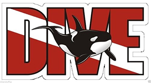Dive Killer Whale ORCA Scuba Diver Down Flag Bumper Sticker Tool Box Sticker Laptop Sticker