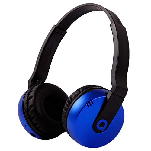 Music Bluetooth Headset Headphones with Microphone Card Plug Subwoofer Game Headphones Wired MP3 Sports Stereo Headphones Sweat resistant (Color : Blue)