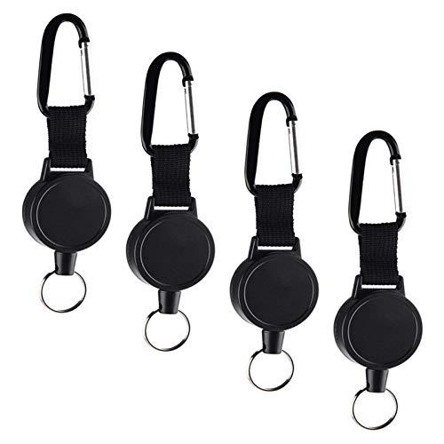 Ausziehbarer Durable Schlüsselanhänger Mit Karabiner-(4 Stück schwarz)Schlüsselband Ausziehbar Schlüsselanhänger Mit Zugband,Strapazierfähig Schlüsselband Ausziehbar 27 Inch Stahldrahtseil