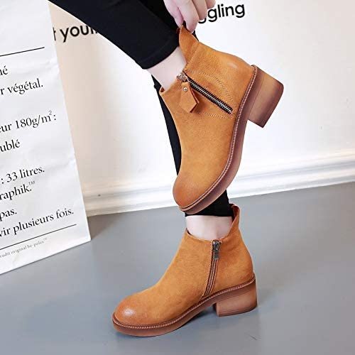 HOESCZS Bottes Martin bottes Wohommes Autumn and Winter Retro bottes Fashion Wild Thick with Thick Casual Cotton bottes