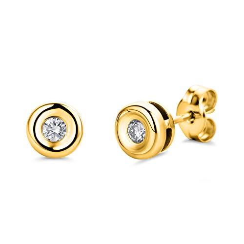 Orovi, orecchini da donna in oro giallo 18 carati con diamante solitario da 0,10 carati