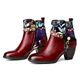 CrazycatZ Womens Bohemian Block Heel Leather Western Boots Colorful Leather Stickerei Ankle Boots (Dark Red, numeric_9)