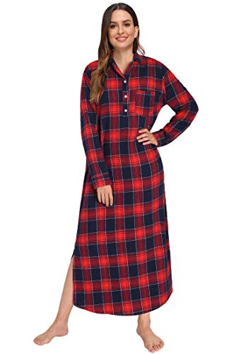 Latuza Damen-Nachthemd aus Flanell in voller Länge Gr. 48, rot
