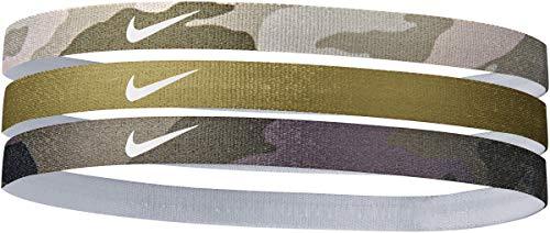 Nike Haarbänder für Herren und Damen, 3er-Pack, Camouflage-Muster, Schwarz / Oliven-Logo