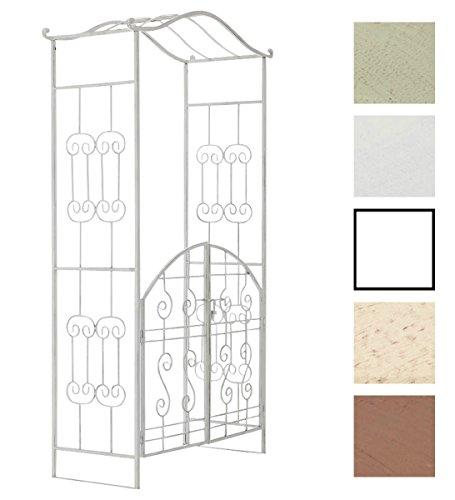 CLP Eisen-Rosenbogen ASTIA mit Eingangspforte I Torbogen mit stilvollen Verzierungen I Rankhilfe im Landhausstil I erhältlich Antik Weiß