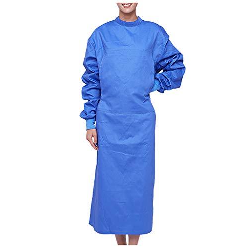 CRE87 Mann und Frauen OP-Kittel Mantel für OP-Bereich Isolationskleid mit elastischer Stehkragen Schutzisolationskleider Stillkleid Staubfreie Arbeitskleidung Schutzkleidung(A Blau XXL)