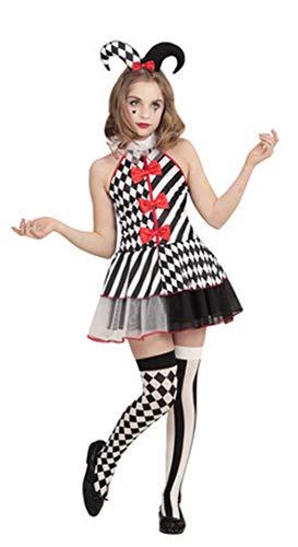 Disfraz de bufón de arlequín para niñas de 3 piezas para Halloween
