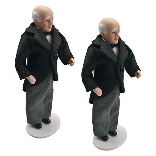 FLAMEER 2X 1:12 Puppenhaus Mini Porzellanpuppe Menschen Modell Little Decor Kinderspielzeug
