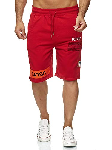 Red Bridge Herren Shorts Kurze Hose Sweat Pants Jogginghose NASA Logo USA M4854 Rot L