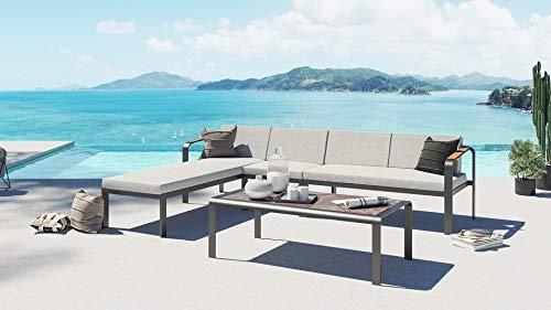 ARTELIA Scorpio Modern Teak Aluminium Loungegruppe Loungemöbel Gartenmöbel-Set Sitzgruppe für Garten, Terrasse und Wintergarten, Premium Terrassenmöbel Anthrazit