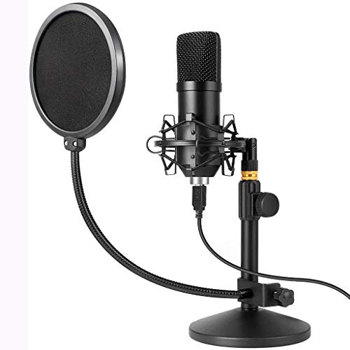 LTJX USB Studio Microphone Kit 192kHz/24bit Condenser Podcast Streaming Cardioid Mic Kit with Sound Card Desktop Stand Shock Mount Pop Filter, Plug & Play for Skype, YouTube, Gaming