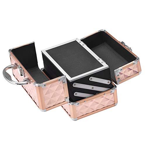 Costwayコスメボックスメイクボックスプロ用鏡付き化粧品収納ボックス化粧箱コスメ収納ボックスメイク収納ボックスローズゴールド