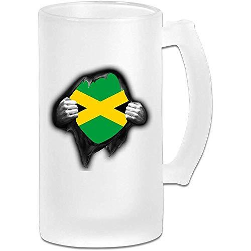 NHJYU Jarra de Cerveza Jamaica Flag Proud Frosted Glass Stein Beer Mug - Personalized Custom Pub Mug- Gift for Your Favorite Beer Drinker